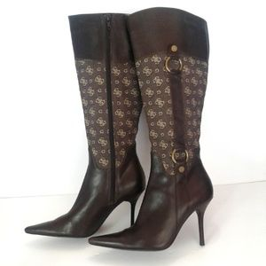 Guess Brown Leather Logo Tall Heel Boots 7 M